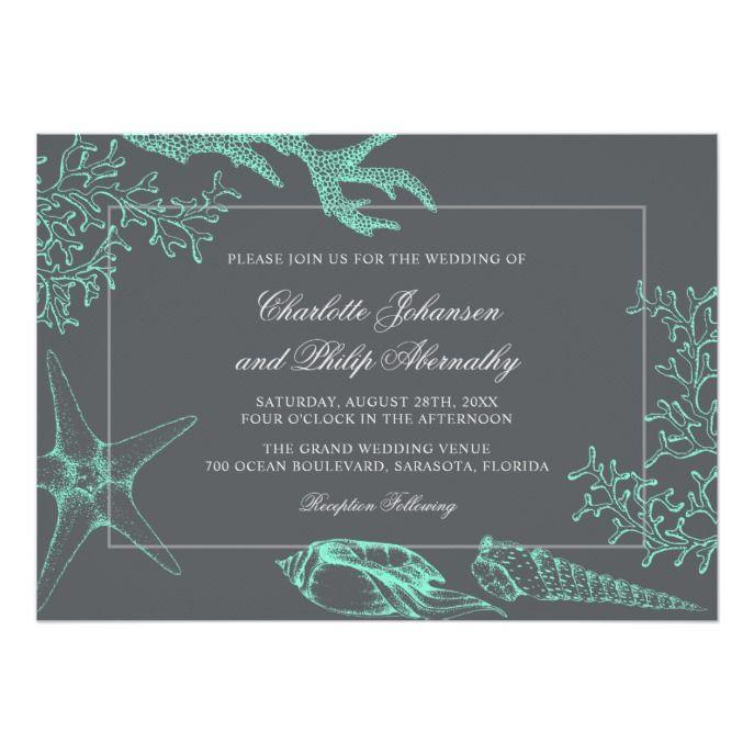 Seafoam Green Wedding Ideas: Seafoam Green And Gray Coastal Wedding Invitation