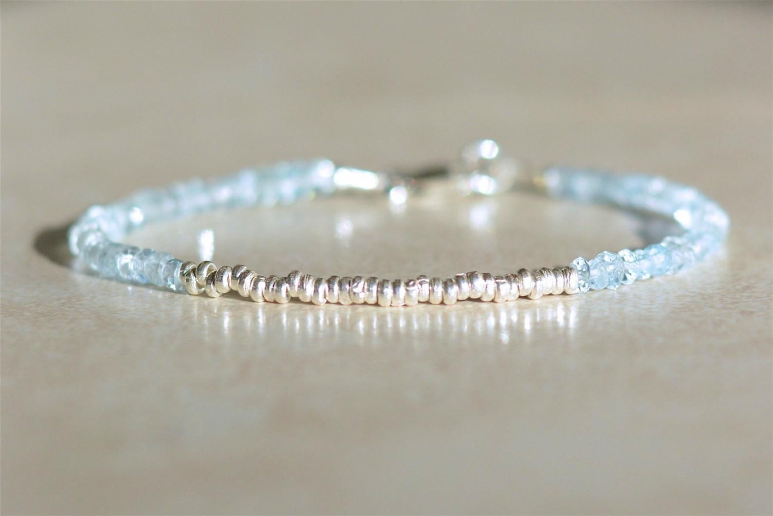 Gift for Wife March Birthstone Bracelet Minimalist Bracelet Dainty Silver Bracelet Aquamarine Bracelet Gift for Her Birthstone Gift