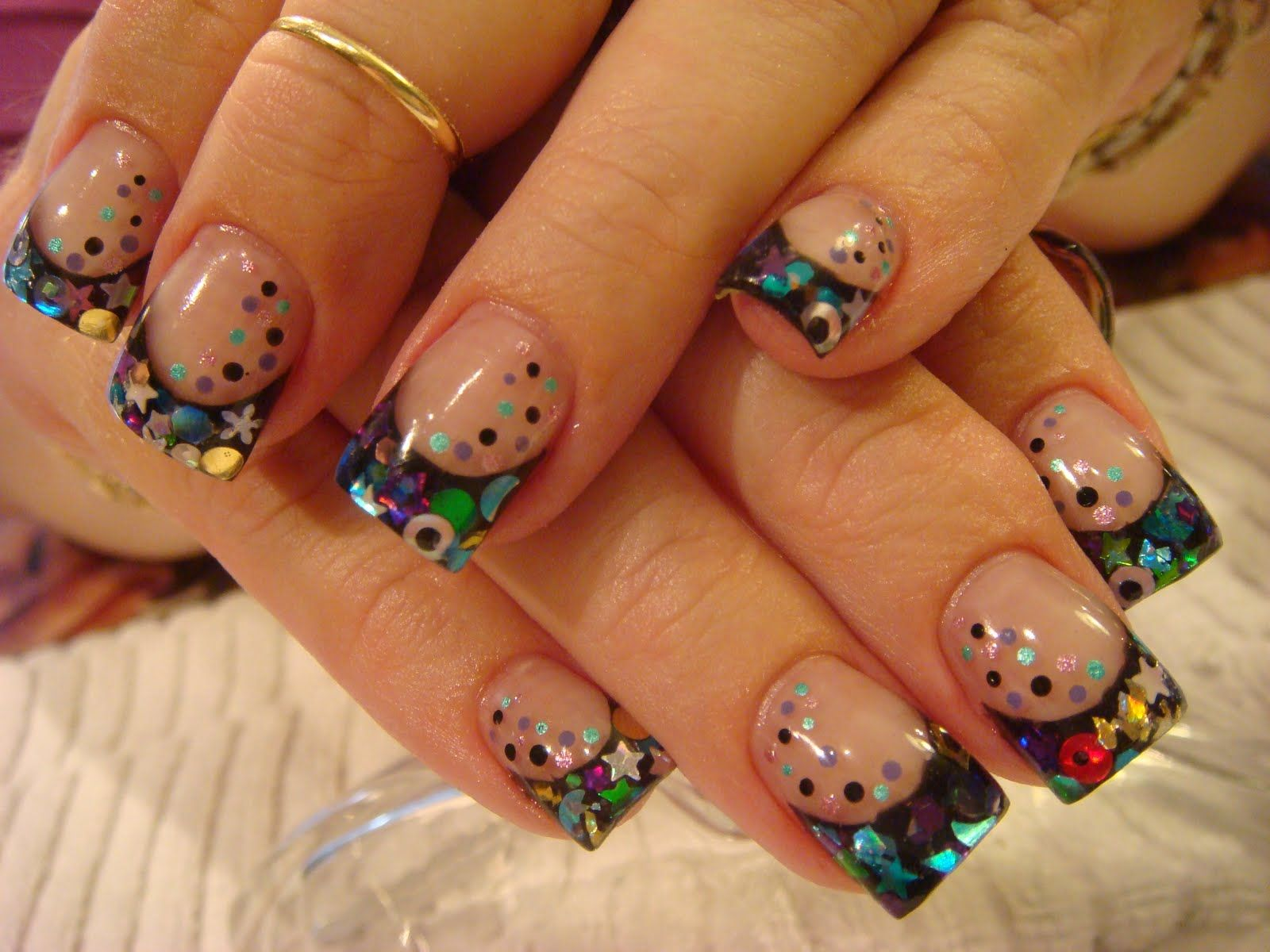 acrylic nails | This is an opi gel polish design. I layered Happy ...