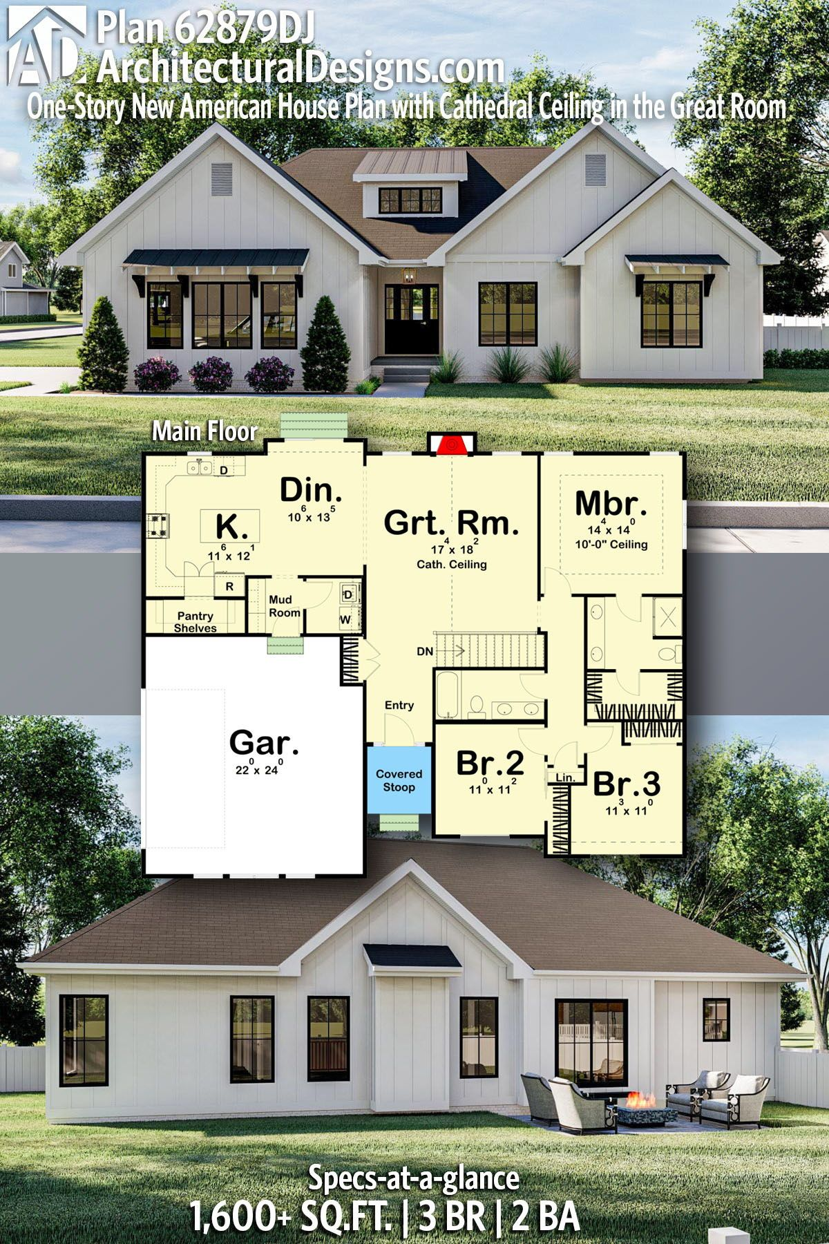 Plan 62879dj One Story New American House Plan With Cathedral Ceiling In The Great Room Family House Plans House Plans Farmhouse New House Plans