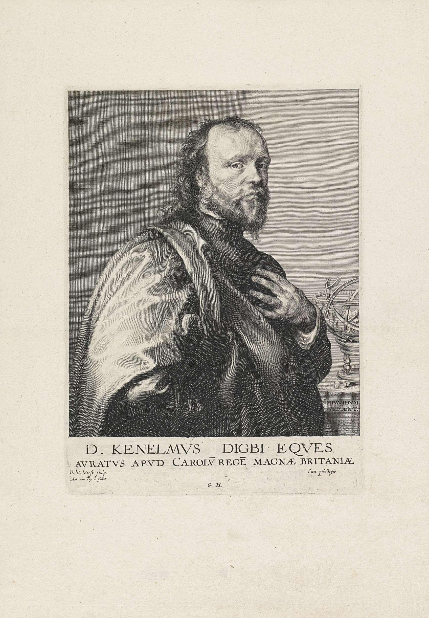 Robert van Voerst   Portret van Kenelm Digby, Robert van Voerst, Gillis Hendricx, unknown, 1627 - 1636   Portet van de zeeofficier en diplomaat Kenelm Digby. Op de tafel staat een armillarium, die verwijst naar zijn interesse voor astronomie.