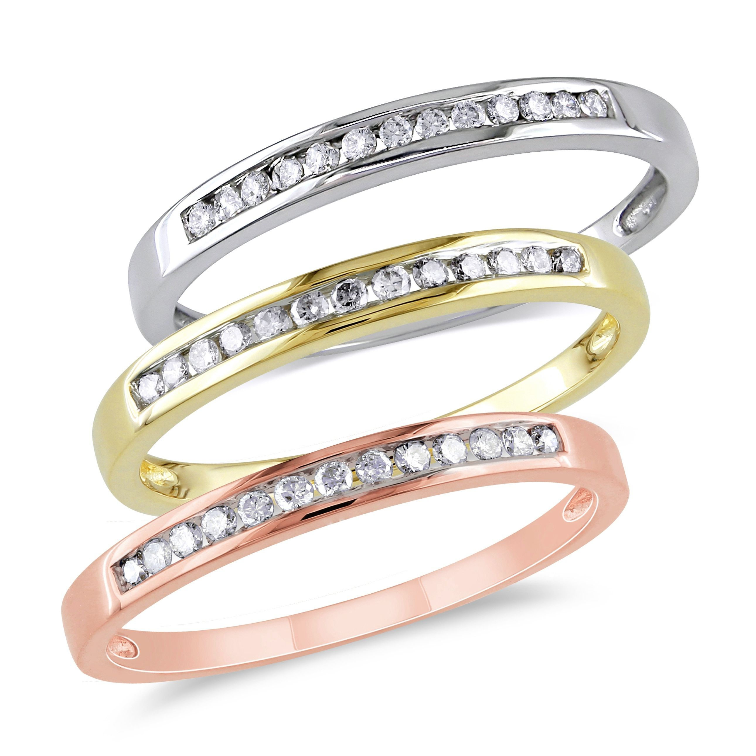 diamond tri bands ring color fashion jewelry gold rings colored