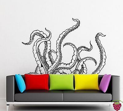 Wall stickers vinyl decal tentacles calamar deep sea horror scary ocean z2153 scary ocean sticker vinyl and deep sea