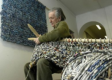Artist, Ivano Vitali, knits and crochets using yarn made from strips of found materials, such as newspapers and phone books, with no glue, coloring, or water added.