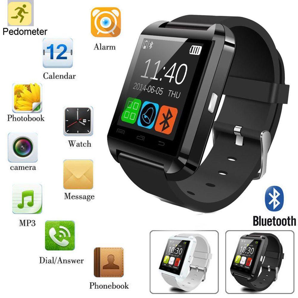 2e75bb5e4cb Black U8 Bluetooth Smart Wrist Watch Phone Mate For Android IOS LG ...
