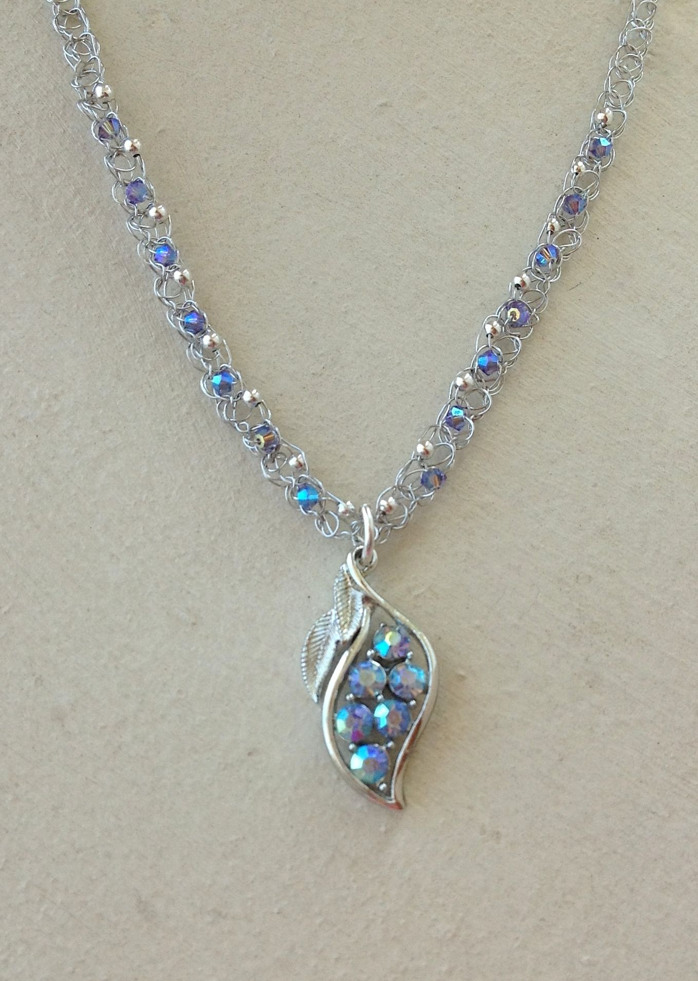 Crocheted wire swarovski crystal and vintage pendant