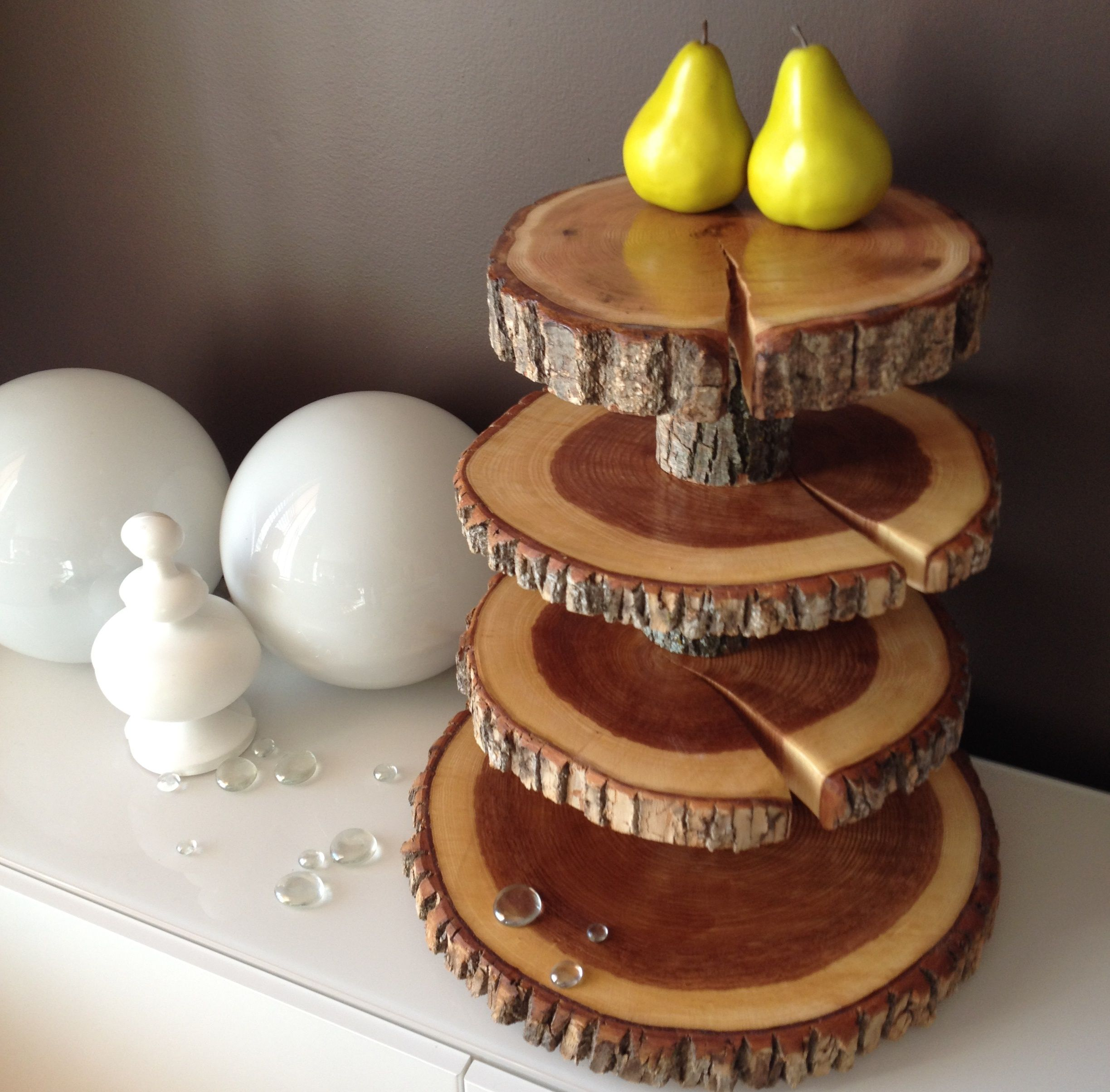 4 Tier Cupcake Stand, Rustic Cupcake Stands, Wood Rounds
