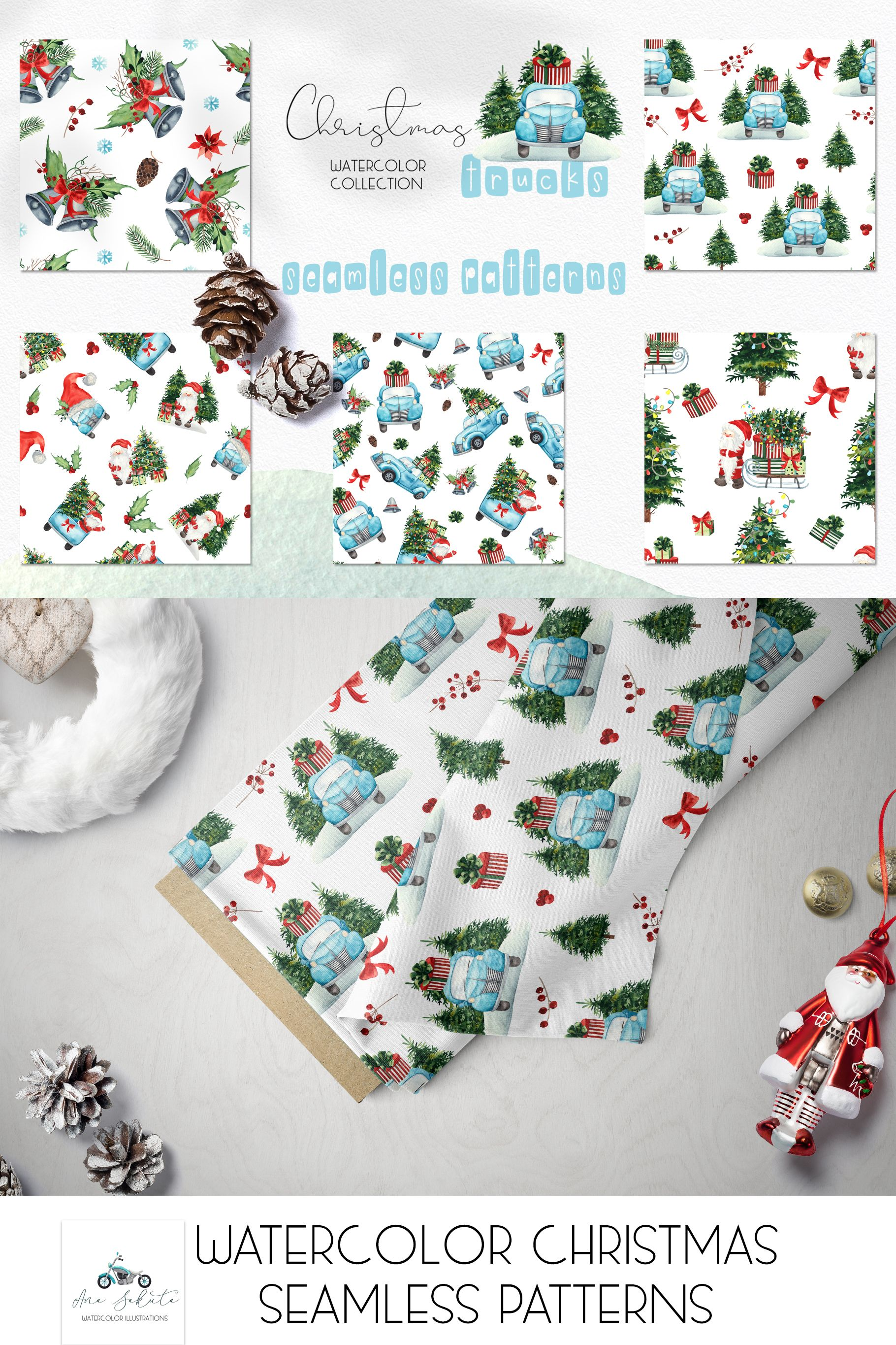 Watercolor Christmas Truck seamless pattern, Merry