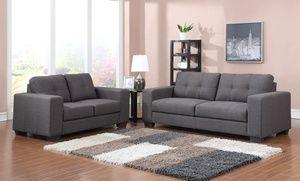Aviano Modern Dark Slate Gray Fabric Loveseat And Sofa Set Sofa And Loveseat Set Contemporary Sofa Sofa Set