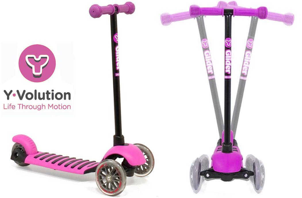 Yvolution Y Glider Deluxe Girls Scooter Magenta Pink