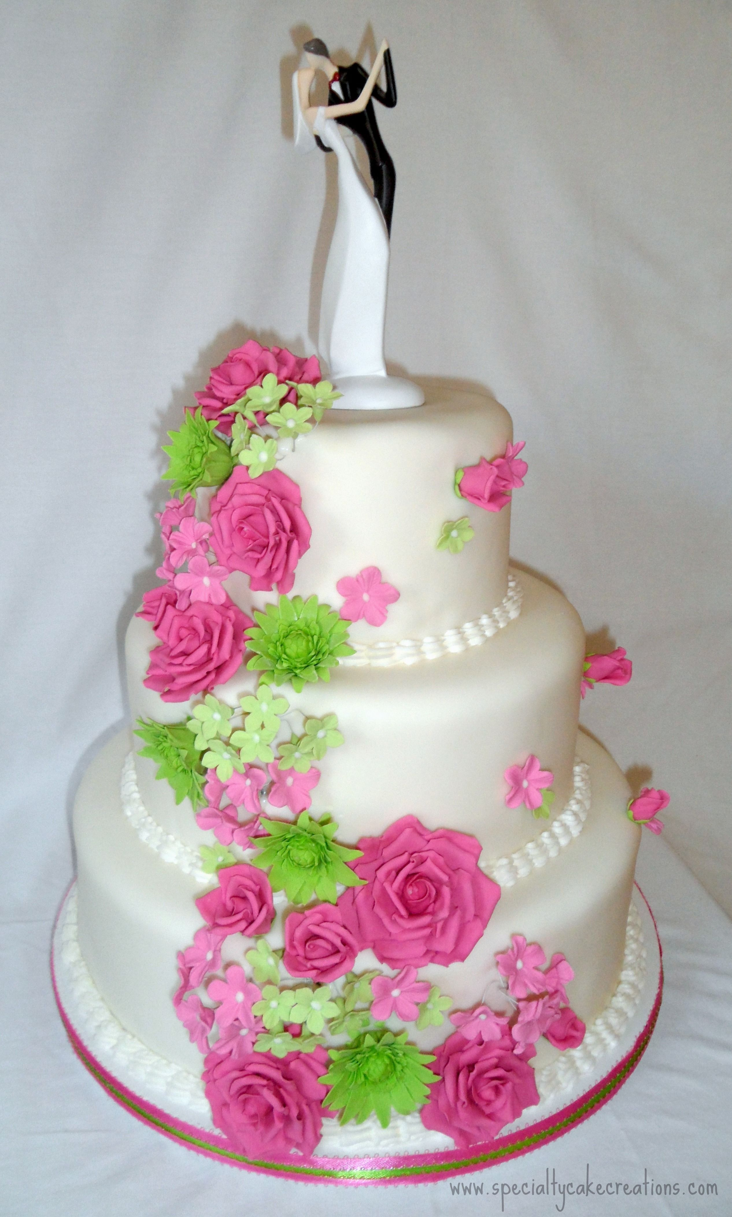 square black and white wedding cakes pictures%0A Hot Pink and Lime Green Cascading Flowers Wedding Cake