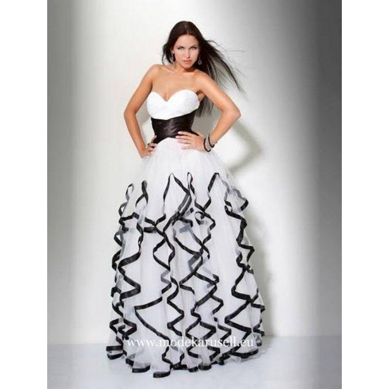 rüschen abendkleid lang weiß schwarz   kleider für bälle