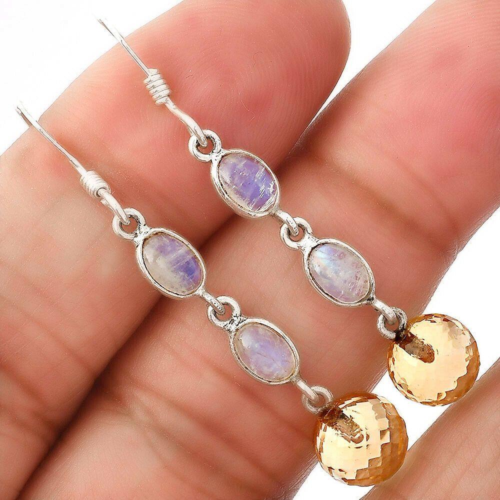 Shattuckite and Blue Topaz 925 Sterling Silver Gemstone Earrings Handmade Gemstone Dangles Handmade Sterling Earrings Gift for Woman