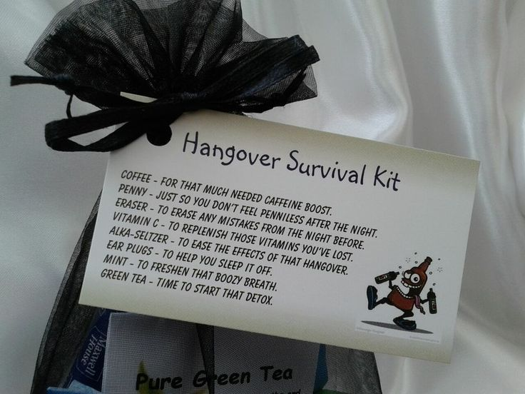 An idea for a wedding favor Hangover kit Birthday ideas