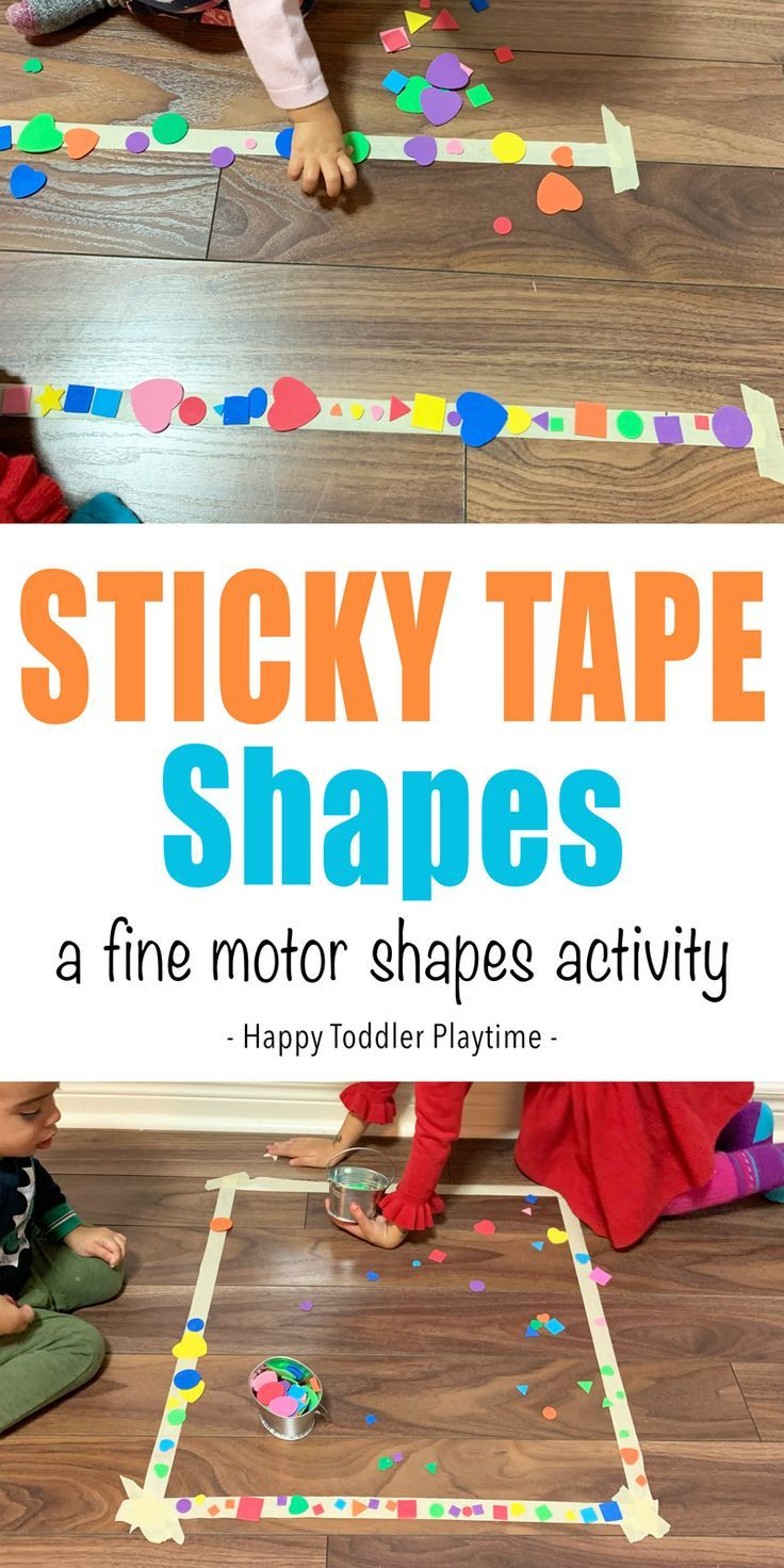 Sticky Tape Shapes Activity - Shapes activities, Fine motor activities for kids, Fine motor skills activities, Toddler activities, Motor skills activities, Preschool activities - Sticky tape shapes activity is a fun shape and fine motor skill toddler activity  It's easy to set up and makes a great activity for toddlers stuck indoors!