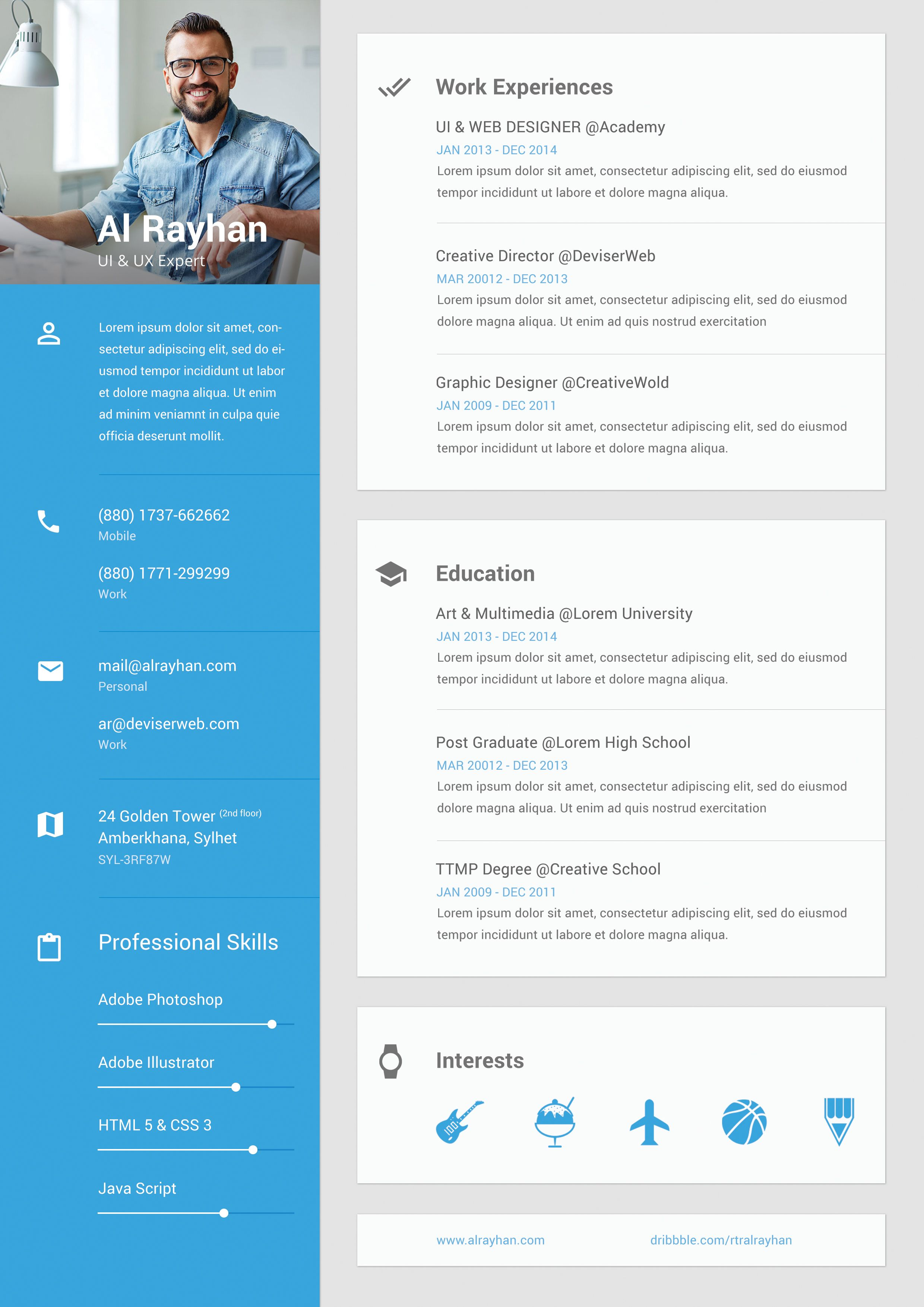 metarial design cv ui profile resume
