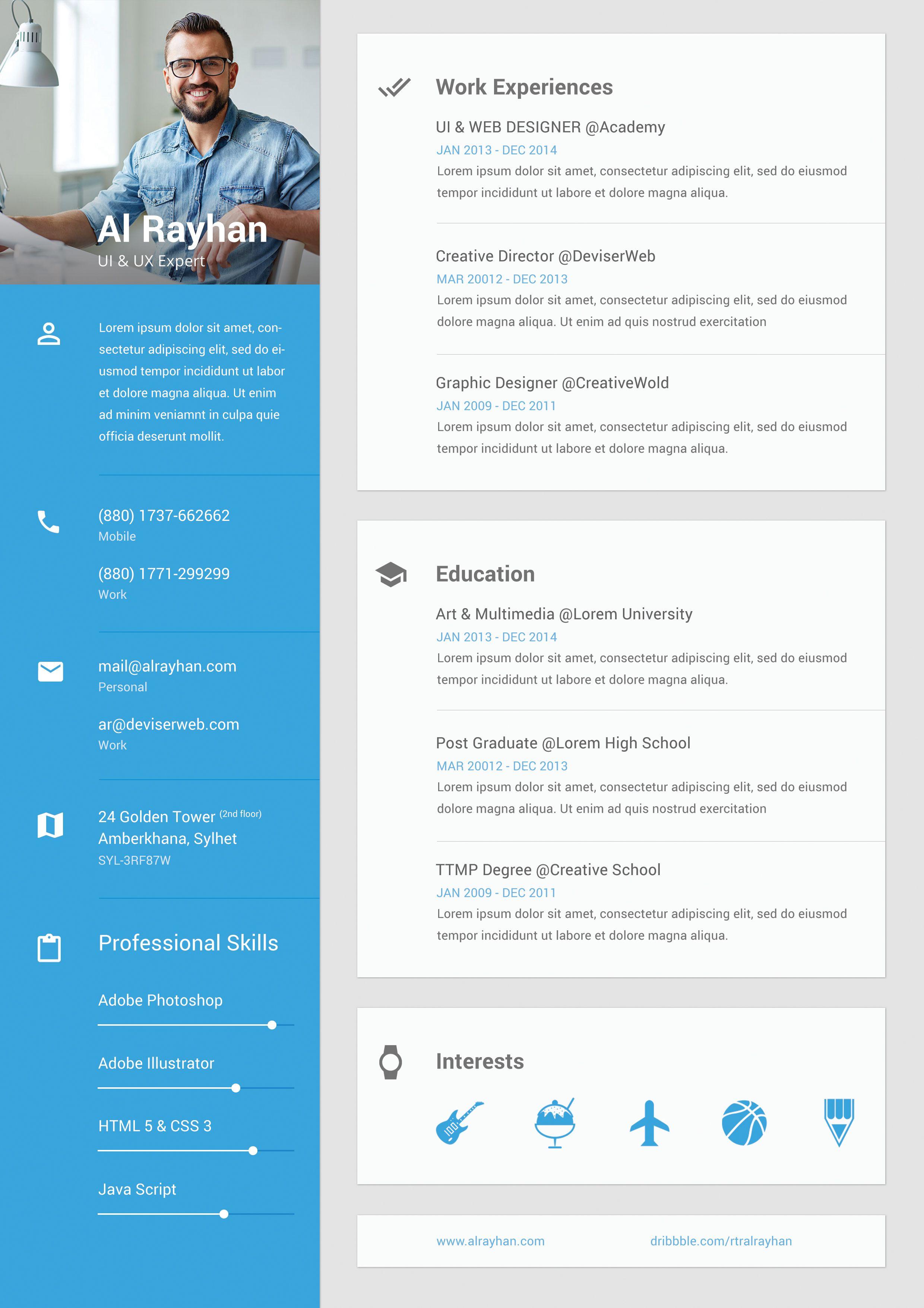 Metarial Design Cv Resume Jpg By Al Rayhan Resume Design Free Personal Resume Resume Design Professional