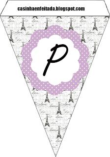 """Kit Party Paris Lilac and Black - Banner PIece Letter """"P"""""""