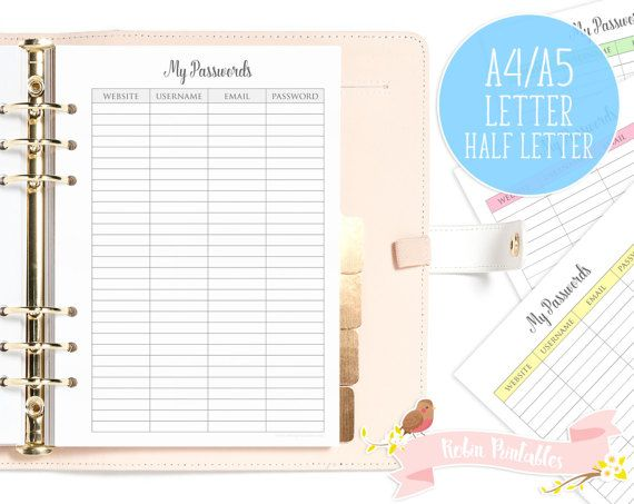 my passwords printable planner insert page letter half letter size fits organizers like kikkik or filofax website log in details by robinprintables