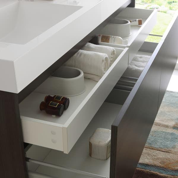 Fresca Mezzo Gray Oak 60-inch Wall Hung Double Sink Modern Bathroom