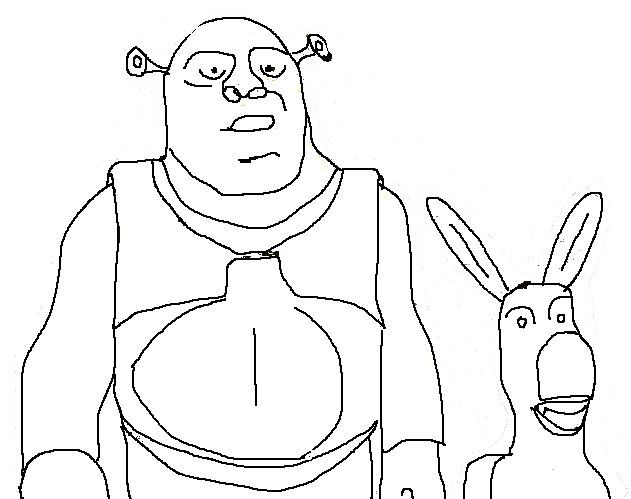 Cartoon Character Coloring Pages Shrek And Donkey Art Class
