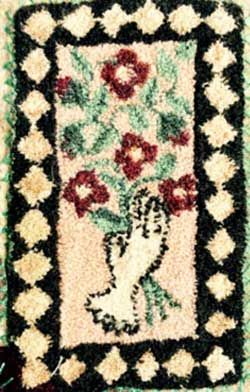Miniature Punch Needle Rug Antique Glove