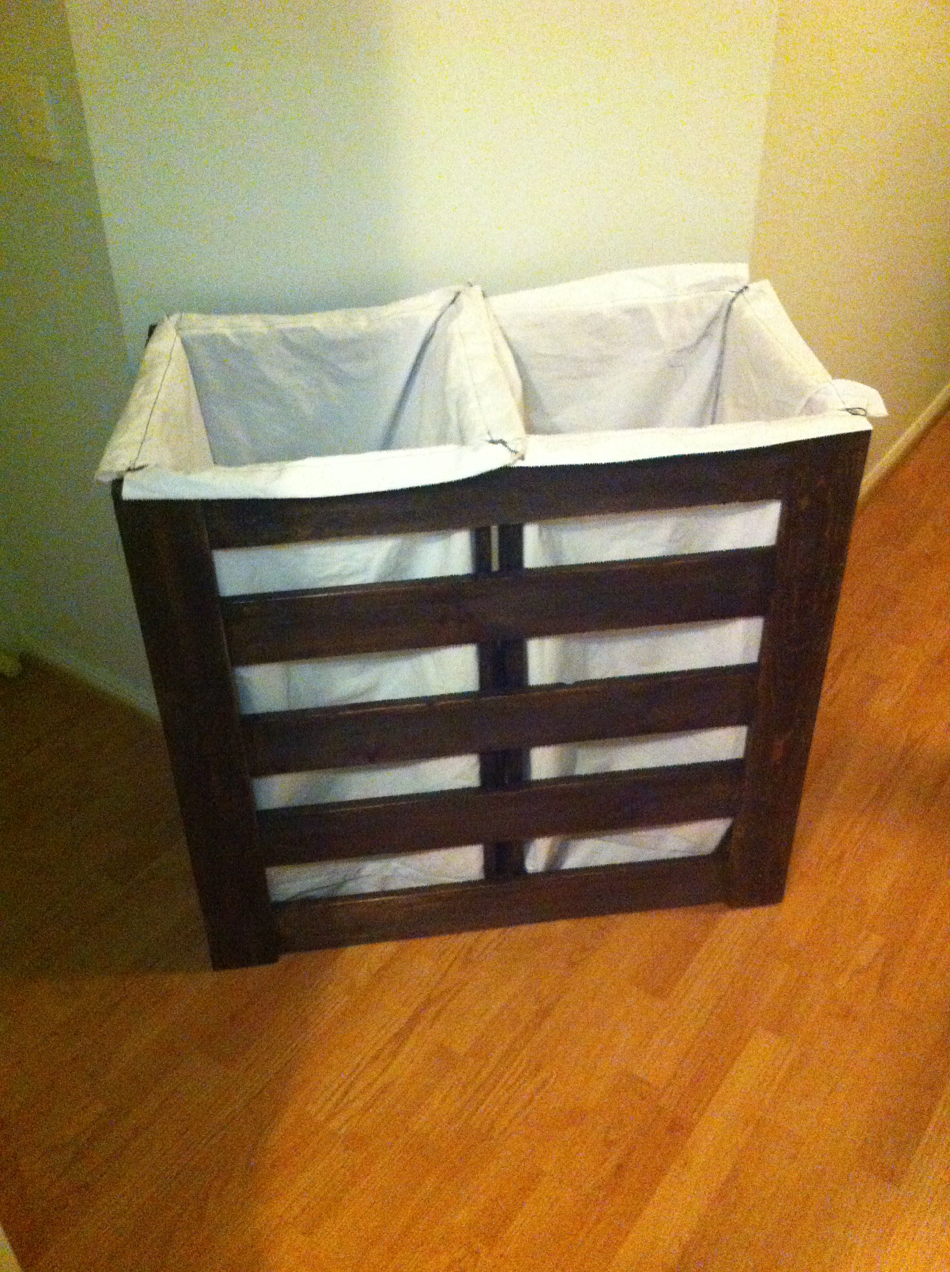 Double Pallet Laundry Hamper To See Other Stuff We Have Made Check Us Out On Facebook At Wood N Stuff Ad Laundry Hamper Laundry Hamper Diy Diy Laundry Basket