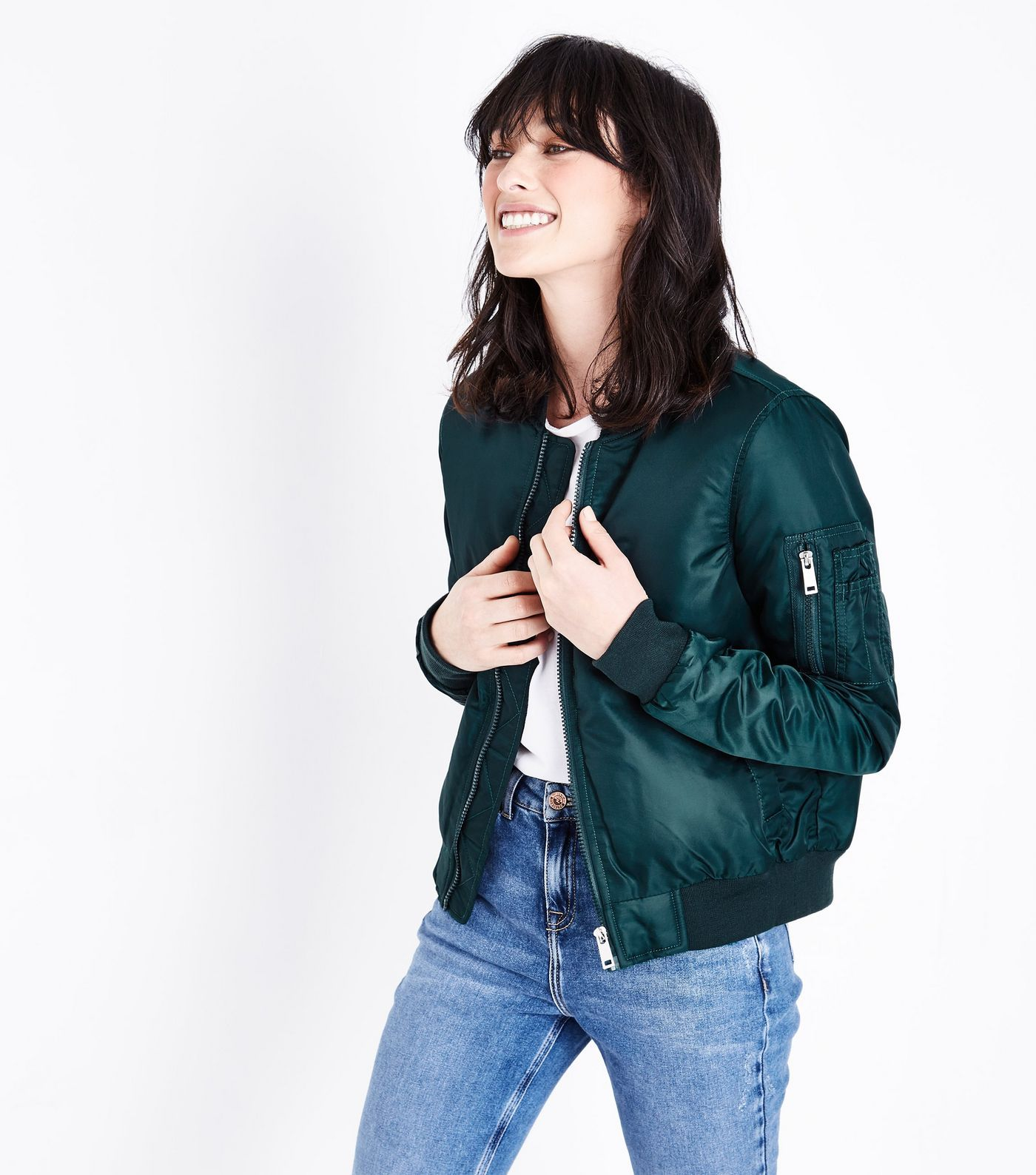 Teal Satin Bomber Jacket | Bomber jacket outfit, Bomber