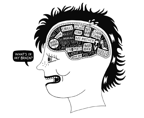 Taming the brain through mindfulness.  Illustration by Serge Seidlitz from Sane New World.