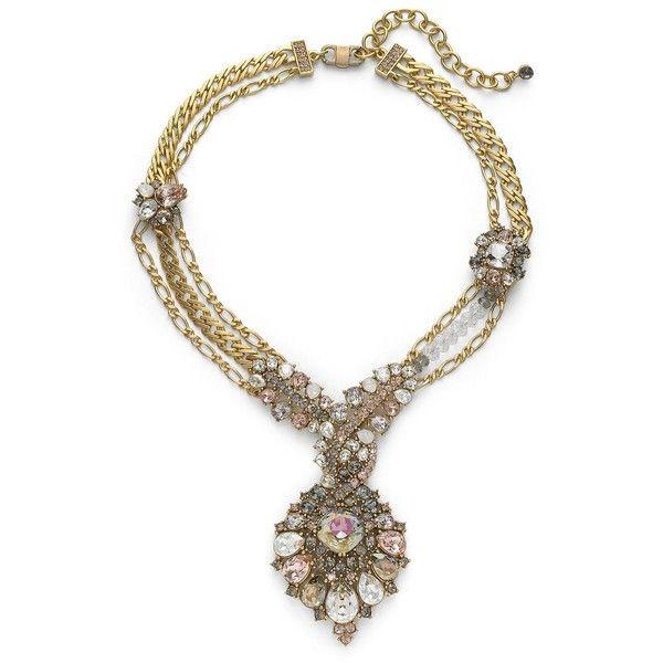 Judith Leiber Maharaja Swarovski Crystal Marquis Pendant Necklace/Gold... ($659) ❤ liked on Polyvore