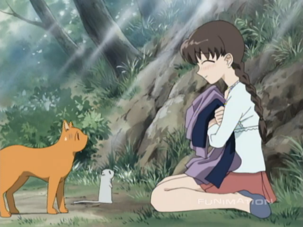 Tohru Honda with Kyo (cat) and Yuki (rat) in their animal