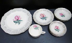 Vintage 16 Piece American Limoges Fine China Pattern Le Fleur Rouge 22k Gold Trim Made In The 1940 S