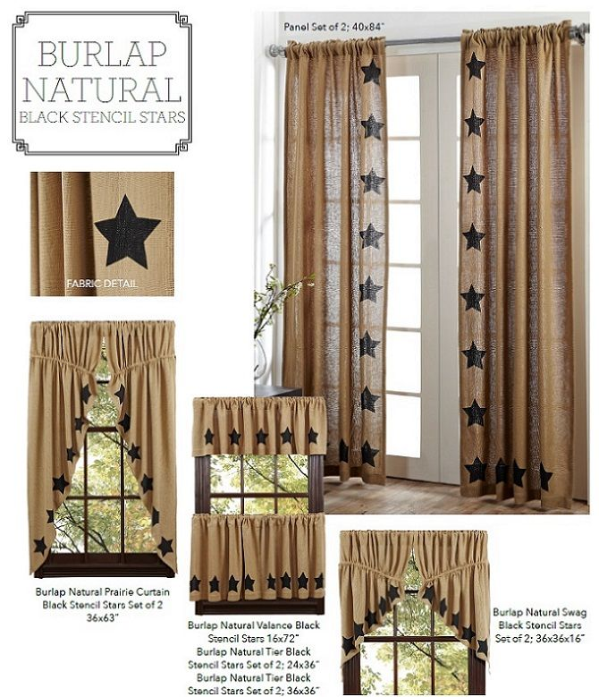 Burlap Natural Stencil Stars Window Treatments