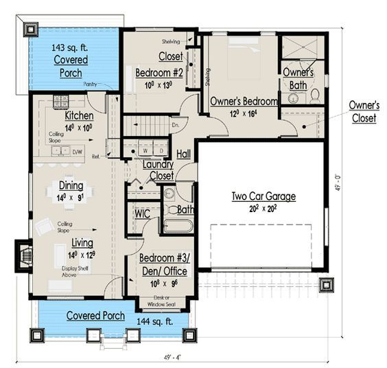 1200 Square Feet 1 Story Bungalow Google Search House Plans Cottage Floor Plans Small House Plans