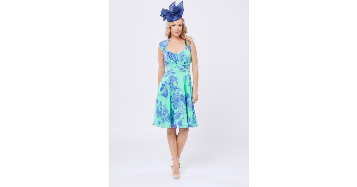 Review Australia - Oceania Dress Cobalt/aqua