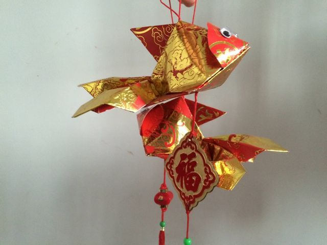 Handmade red packet lion head gold fish handicraft cny for Ang pao fish tutorial