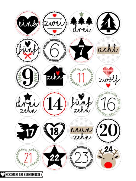 Adventskalenderzahlen 24 Adventskalender Zahlen Aufkleber