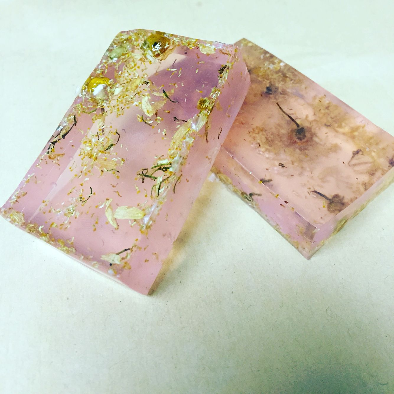 Honey glycerin soap infused with coconut, honey almond, and vanilla essential oils and dried chamomile flowers #WanderLust Go to our etsy store to purchase