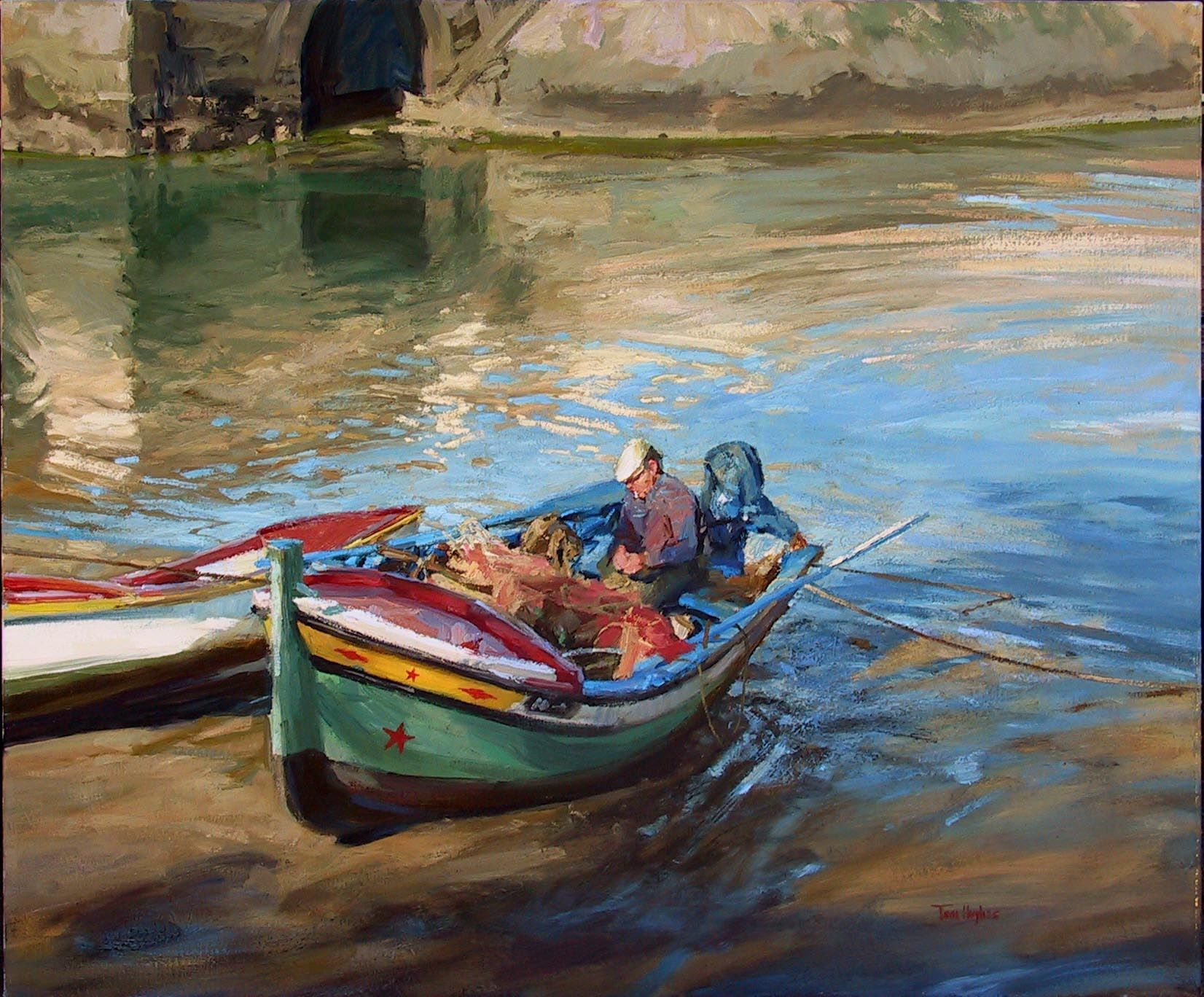 Tom hughes fishing boats in faro portugal a r t let for Fishing boat painting