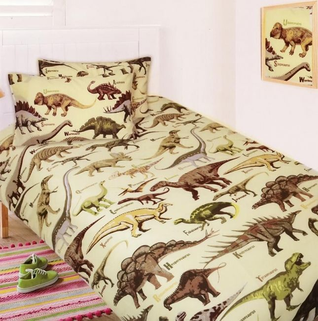 Dino Alphabet Quilt Cover Set from Kids Bedding Dreams dinosaur