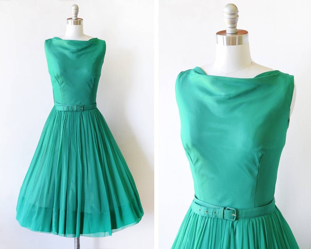 Emerald green dress for women  New in the shop and  off vintage s emerald green chiffon