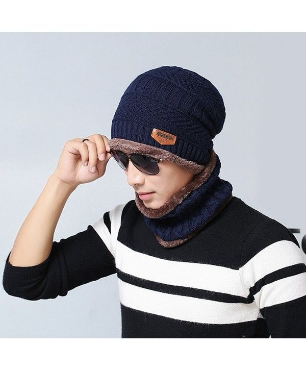 33ebd05f5 Fashion Beanie Men Winter Warm Faux Fur Lined Baggy Hat Neckerchief ...