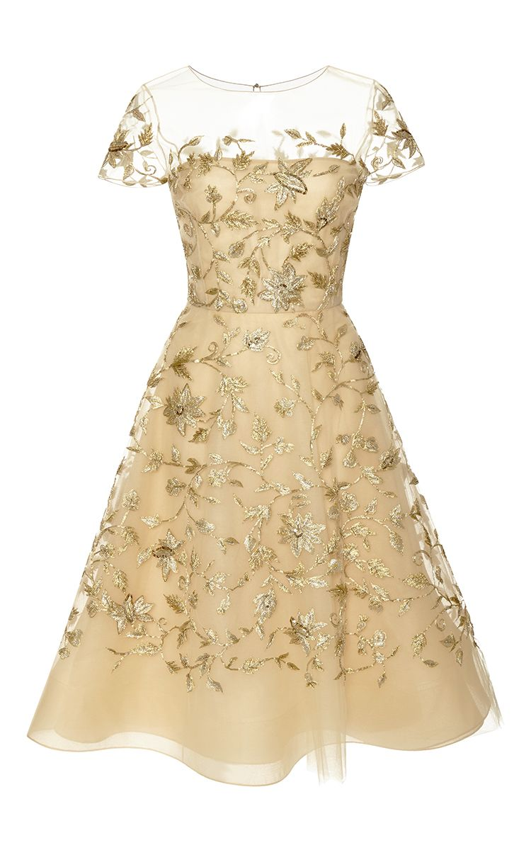1abfa347d8d6 This gold embellished tulle dress by Oscar de la Renta lends itself to a  cocktail party version of the pink dress Liesl wore in