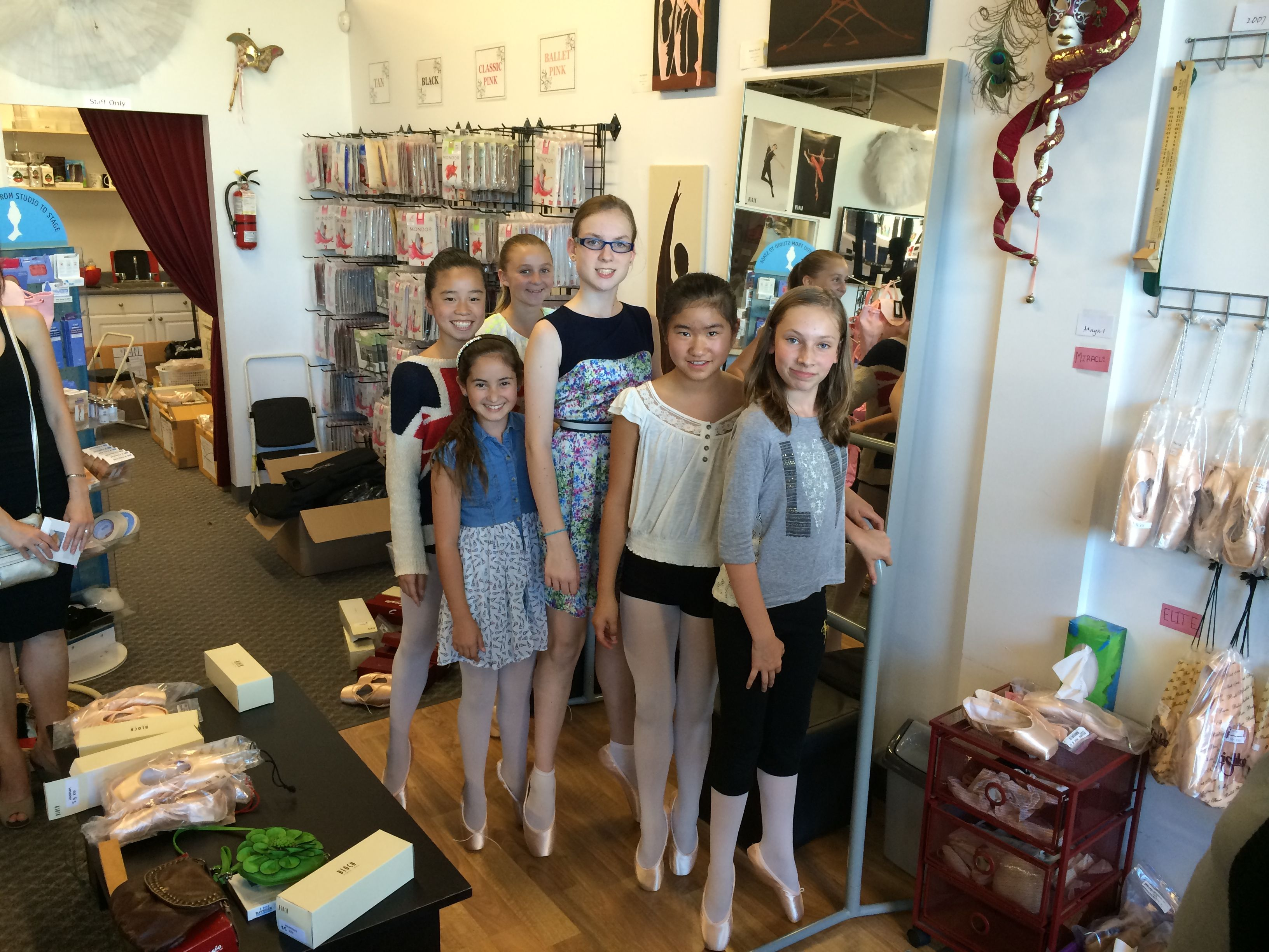 First pointe shoe fitting, with Miss