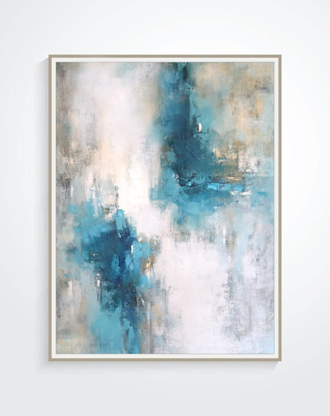 Original Abstract Painting Teal Blue White Gray Colors
