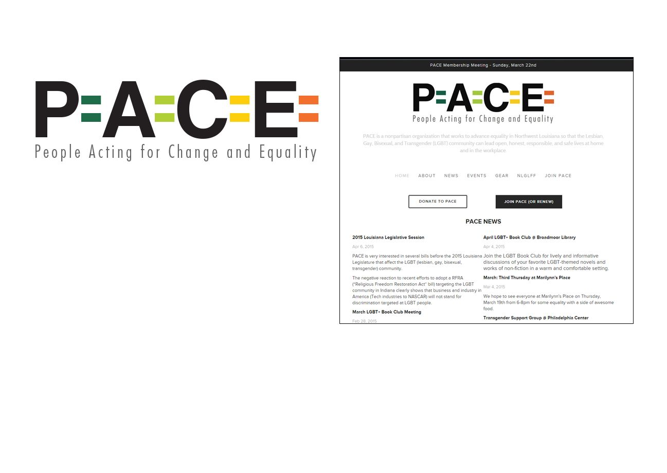 Logo and website for non-profit organization, PACE Louisiana.