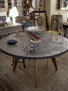 Round Zinc Top Splayed Leg Table - Mecox Gardens | Table ...
