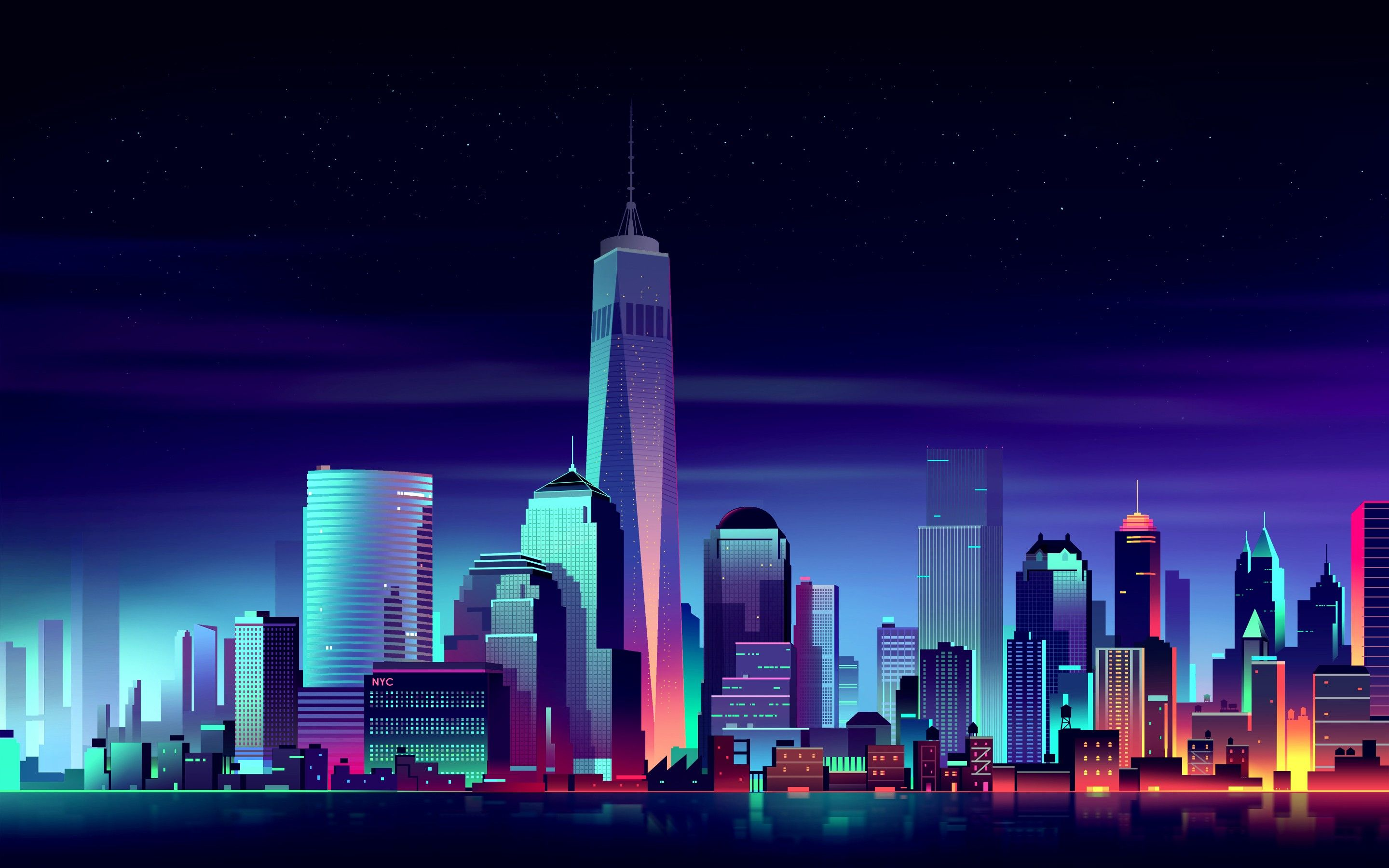 Download Hd Wallpapers Of 273761 Night Cityscape Colorful New York City Free Download High Quality And Building Illustration City Wallpaper City Buildings