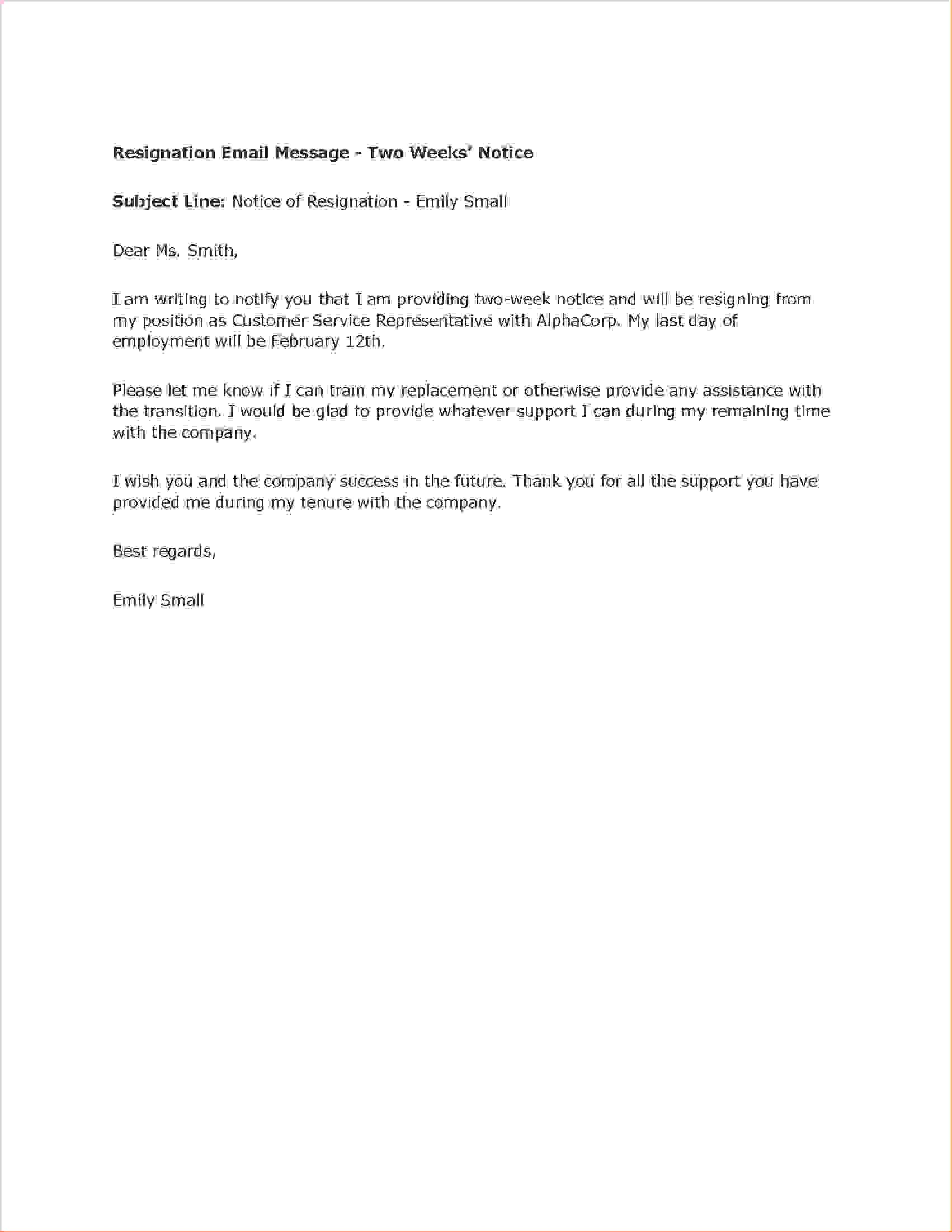 Heartfelt Resignation Letter 3 Two Weeks Notice Letter Templatereport Template  News To Go 2 .