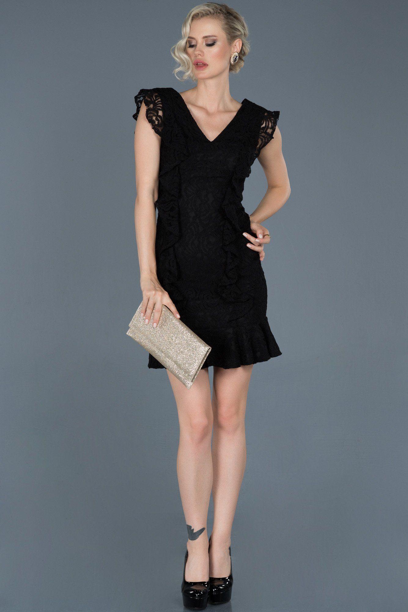 Siyah Kisa V Yaka Gupurlu Davet Elbisesi Abk603 Siyah Abiye Moda Stilleri Ve The Dress